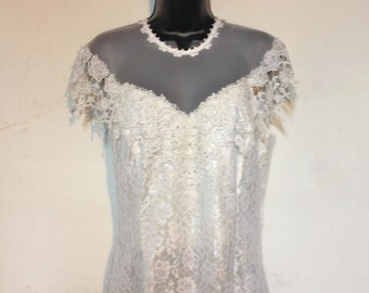 Wedding Dress Size 10 Vintage 80s Union Made in the USA
