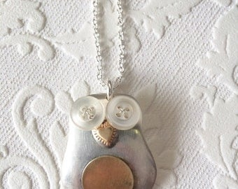 Spoon bowl owl baby necklace