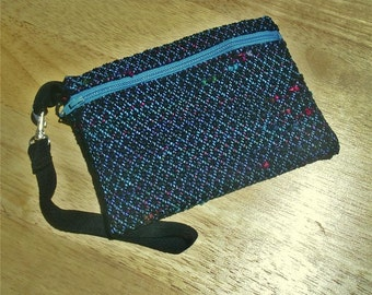 Handwoven Zippered Wristlet Bag with Detachable Strap