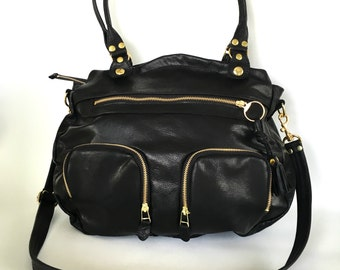 Large Okinawa bag in black leather