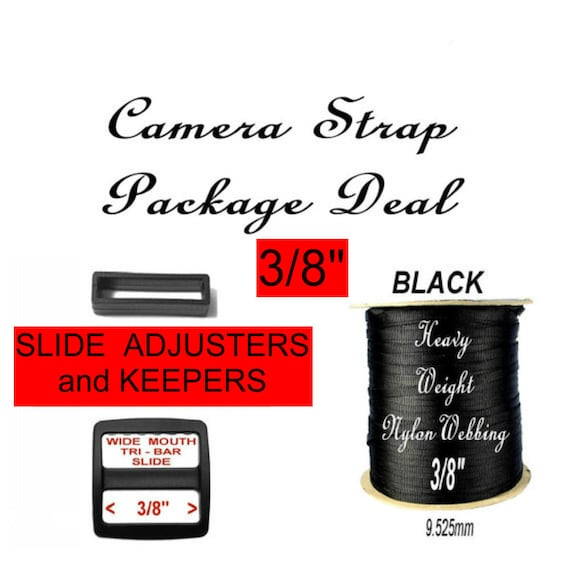 """Camera Strap Package Deal - 3/8"""" - 10 SLIDES and 10 KEEPERS and 5 Yards Heavy Nylon Webbing - Your Choice of 1 Color"""
