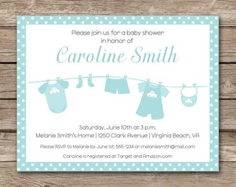 Baby Clothesline Shower Invitation, Clothesline Invitation, Boy Baby Shower Invitation, Baby Laundry Invitation, PRINTABLE
