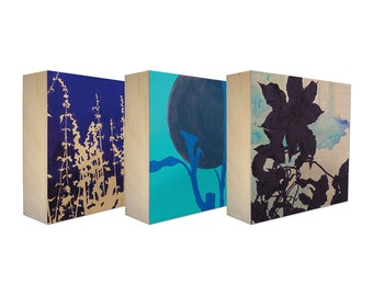 Set of 3 Art Blocks - Limited edition botanical prints on birch panel, plant silhouette, Free Shipping, Ready to hang - Midnight Enchantment