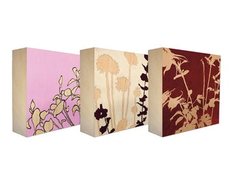 Set of 3 Art Blocks - Limited edition botanical prints on birch panel, plant silhouettes, 5x5 - Free Shipping - Ready to hang - Summer Life