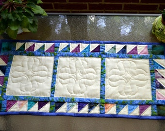 Table Runner, Bali Fabric, Multi Colors, Hand Quilted, Handmade, Blue