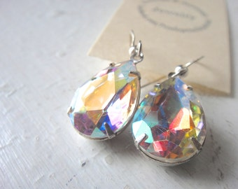 Sparkly Glam Drop Crystal Earrings in Aurora Borealis Crystal Teardrops hung on Sterling Silver, Bridal, Wedding Jewelry
