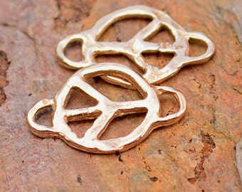 Peace Links in Gold Bronze, Two Artisan Peace Connectors