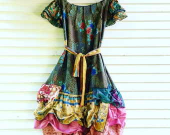 Custom Made Special Occasion Dress - silk and rayon and crepe, flamenco style dress. OOAK, made to order silk, rusched women's dress