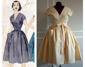 Custom Retro Inspired Wrap Dress/Housedress - Blue Toile