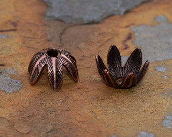 4  Antique Copper 8mm Daisy Petal Bead Caps - 2 pairs  - Nunn Designs