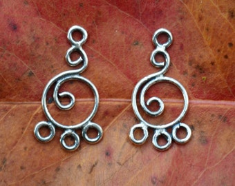 Bali Sterling Silver Circles Chandelier Pair - 20mm x 6mm