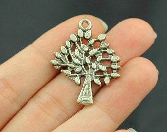 12pcs Life Tree Charms Pendant Antique Silver Tone - SC211