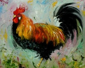 Rooster 771 16x20 inch original animal portrait rooster oil painting by Roz