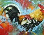 Rooster 799 24x48 inch original animal portrait oil painting by Roz