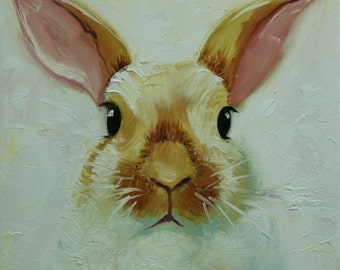 Rabbit painting 61  12x12 inch original oil painting by Roz
