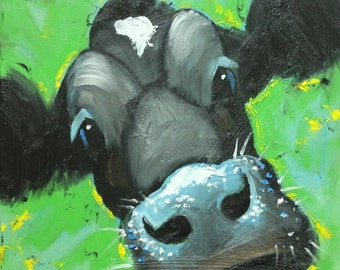 Cow painting 1089 12x12 inch original animal portrait oil painting by Roz