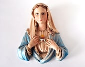 Chalkware Madonna Bust, Kitsch Religious Wall Plaque, Catholic Mary Statue, Plaster Wall Hanging, Michigan Composition Lamp, Sacred Heart