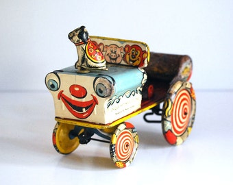 Crazy Clown Car, 1950s Tin Litho Toy, Unique Art Car, Jo Jo the Dog, Wind up Toy Car, Colorful Metal Toy, Retro Collectible, Rusty Metal