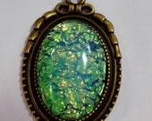 Vintage man-made Opal and Bronze necklace