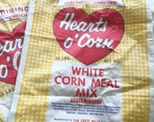 Vintage Crete Mills Launoff Grain Company White Corn Meal Mix Cotton Sack Hearts O' Corn Brand Corn Meal Mix Rustic Home Decor