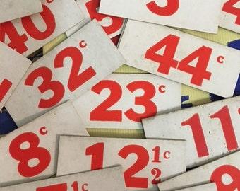 Vintage 1940s  Price Tag Lot Twenty  Price tags  Vintage Grocers Numbers