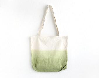 Olive green dip dye cotton tote I
