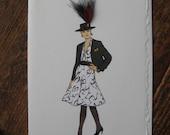 1980 Betty Hanson Shirtwaist Dress fashion Illustration note card 5x7