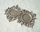 2 - Antique Silver Plated Filigree Border Settings, 13mm Cabochon Settings, Filigree Pendant, Cab setting, Focal Point