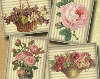 8 Large Vintage Flower Cards - INSTaNT DOWNLoAD- 2 Printable Digital Collage Sheets-Shabby Florals -Paper Craft
