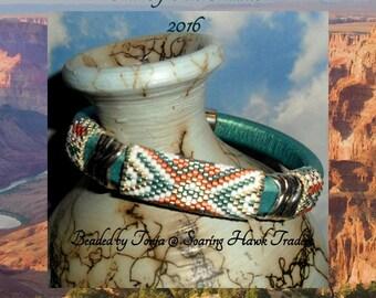 Bead PATTERN Anpo Wi  Licorice Leather Peyote / Brick stitch
