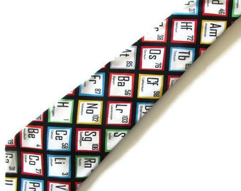 Periodic Table Necktie,  Science Teacher Necktie with Free Gift Box, Teacher Tie, Chemistry Teacher Tie, Chemistry Teacher  Necktie