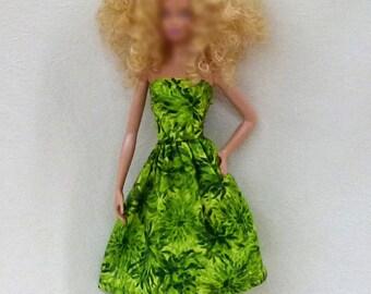 Green Fashion Doll Dress Handmade