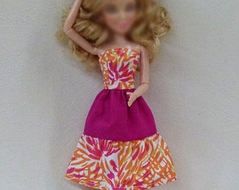 "Orange and Magenta 11.5"" fashion dolls Handmade dress"