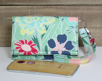 iPhone Wallet Wristlet, Fits Any Smart Phone, iPhone 6s Plus Clutch Purse, Samsung Galaxy, Nexus, Moto, LG / Mint Green Navy Floral