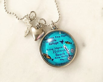 Anna Maria Island Map Charm Necklace - Florida Travel - Beach - Salt Life - Vacation - Wanderlust - Travel - Holmes Beach