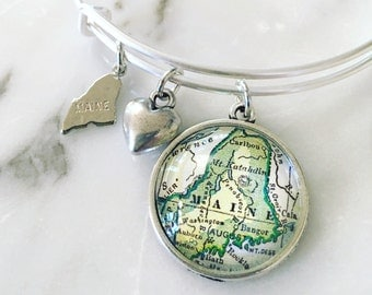 Maine Map Charm Bangle Bracelet - Personalized Map Jewelry - Wanderlust - Travel - Portland - Bangor - Bar Harbor - Acadia National Park