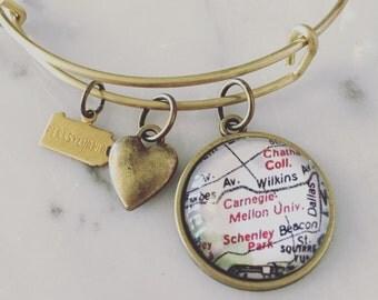 Carnegie Mellon University Map Charm Bangle Bracelet - Personalized Map Jewelry - Stacked Bangle - Pennsylvania - Pittsburgh - Alumni