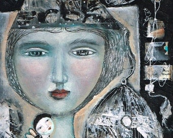 SALE  SPECIAL PRICE!! Free Shipping Print Mixed Media painting woman  free yourself cage muse fairy inspiration