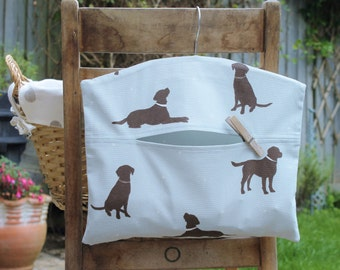 Chocolate Brown Labrador Clothespin Bag / Peg Bag