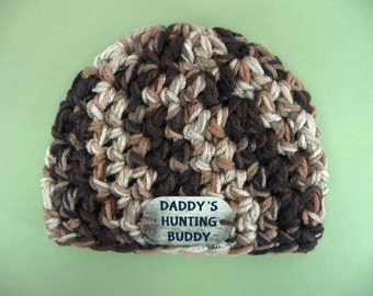 BABY CAMO BEANIE Newborn Hat Photo Prop Daddys Hunting Buddy Photography Crochet Boy Military Duck Bird Deer Elk Hunters Camouflage Dog Tag