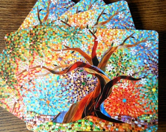 SET OF 4 Placemats - Tree of Life Placemats - Mosaic Art - Multicoloured Mosaic Tree - Tablemats - Tree Mats - Cork Placemat - Placemat Set