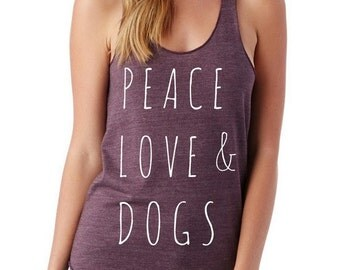 Peace Love and Dogs Ladies Heathered Tank Top Shirt screenprint Alternative Apparel