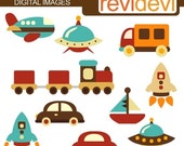 60% OFF SALE Transportation clipart, choo choo train, ufo, cars, airplane - Simply Retro Vehicle Cliparts