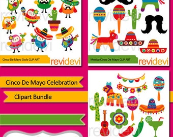 Clipart Cinco De Mayo Celebration - Clip art Bundle - Cinco de mayo digital clipart