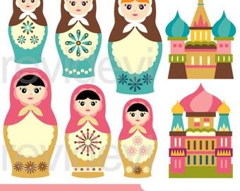 Matryoshka Babushka nesting dolls clipart - Russian mother daughter clipart - Mother's day commercial clip art