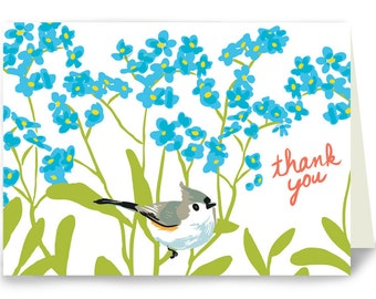 Thank You Titmouse and Forget Me Nots - Box of 8 cards