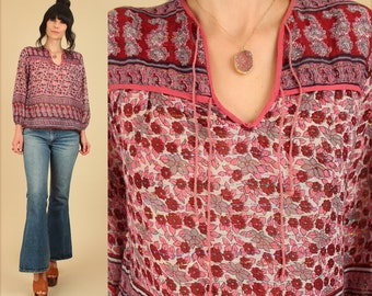 ViNtAgE 70's Indian Gauze Cotton Tunic Sheer India Bohemian Blouse // Bell Sleeve Gauzy Metallic Lurex Floral Top BoHo Hippie Shirt S M