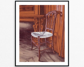 Art Print - Wall Art - Chair Art - Mixed Media - Tinker Swiss Cottage - Rockford Illinois - Housewarming Gift - Gifts for Her- Under 25