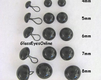 18 PAIR Black Glass Eyes with Wire Loops Assorted Sizes 3mm to 8mm for  teddy bears, dolls,sculpture, needle felting, sewing  ( LP-201 )