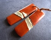 Red River Jasper Earring Pair - semiprecious stone beads - drilled rectangles
